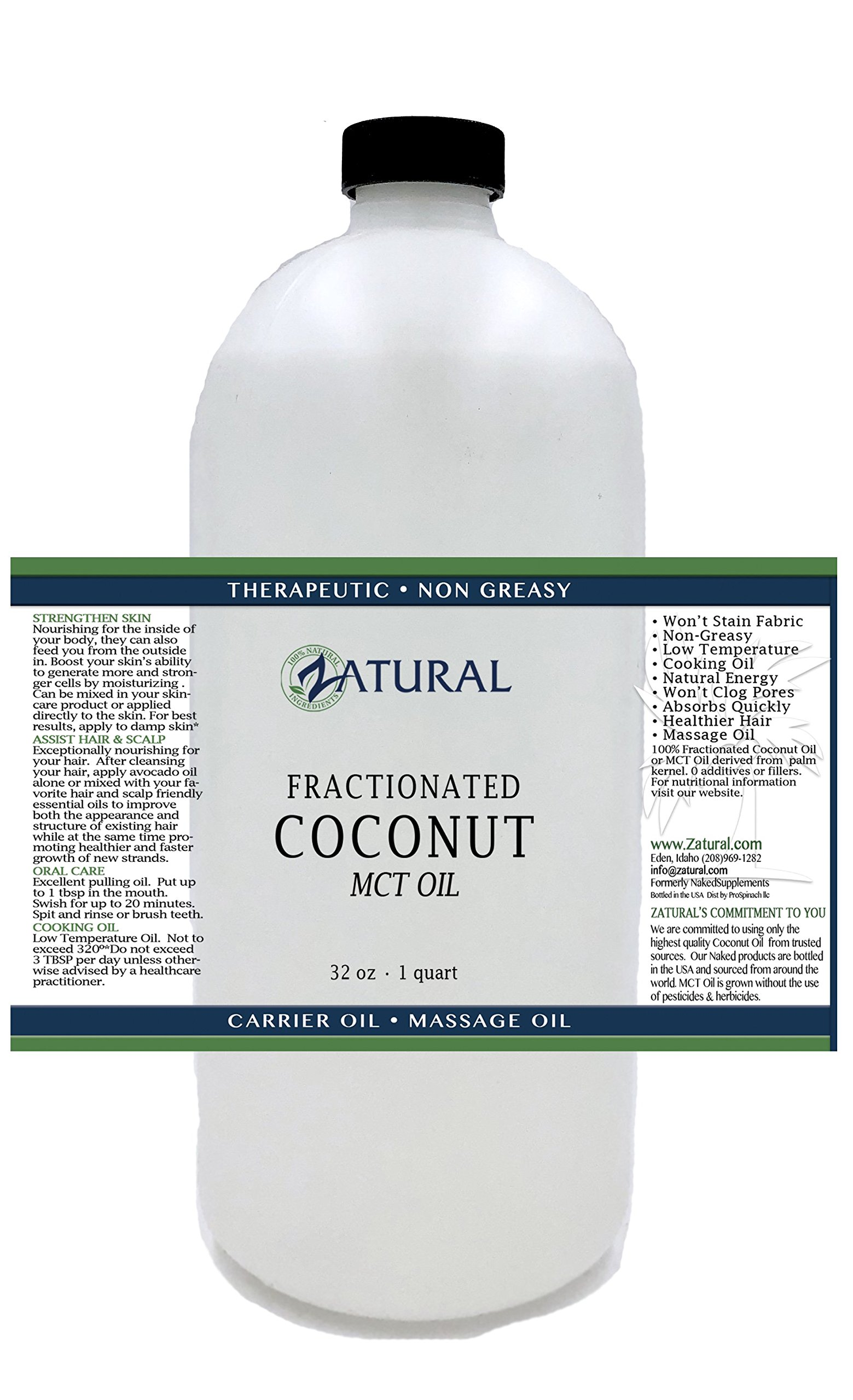 Fractionated Coconut Oil-MCT Oil, 6 Sizes Available, Food and Therapeutic Grade, Carrier Oil, Massage Oil, Hydrating Oil, Hair Oil, 0 Additives, Organic Coconut, Pure Coconut Oil (32 Ounce)
