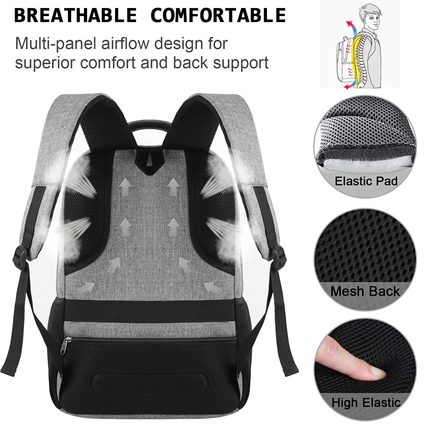 Grey Laptop Backpack,Business Travel Anti Theft Slim Durable Laptops Backpack with USB Charging Port,Water Resistant College School Computer Bag for Women /& Men Fits 15.6 Inch Laptop and Notebook