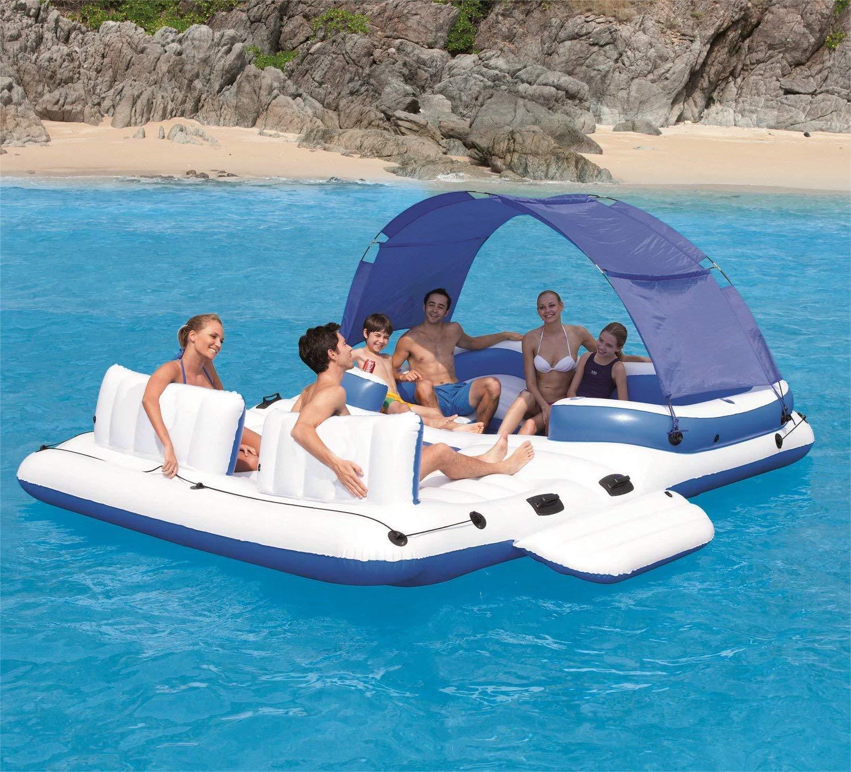 Fiesta Flotante Inflable Gigante De La Balsa del Salón De La Isla Flotante Uso En Flotadores De La Piscina del Partido del Océano del Lago River para hasta ...