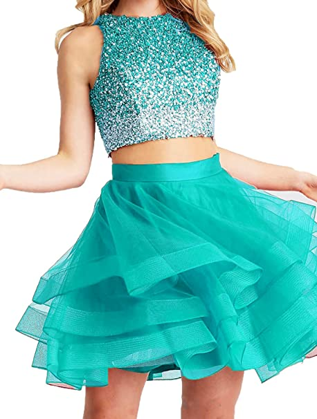 Review Little Star Homecoming Dresses Short 2018 Two Piece for Juniors Prom Ball Gowns with Sequins