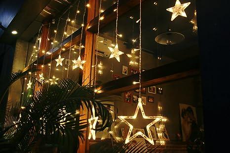Guirlande lumineuse 138 led 12 etoiles 12m 8 modes rideau de lumière eclairage pour