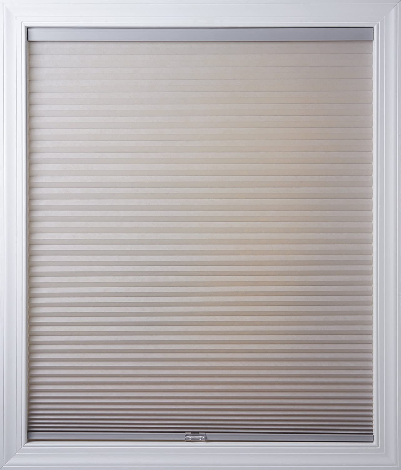 New Age Blinds 44 inch x 48 inch Cordless Cellular Shades, Outside Frame Mount, Gray Sheen, Light Filtering Worldwide 4844NAWFOLFGRS