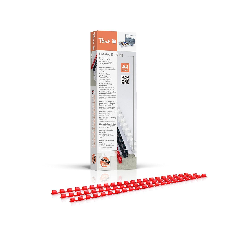 Peach PB406-03 Plastikbinderücken DIN A4, 6 mm, 25 Blatt, 100 Stück, rot 100 Stück 3T Supplies AG