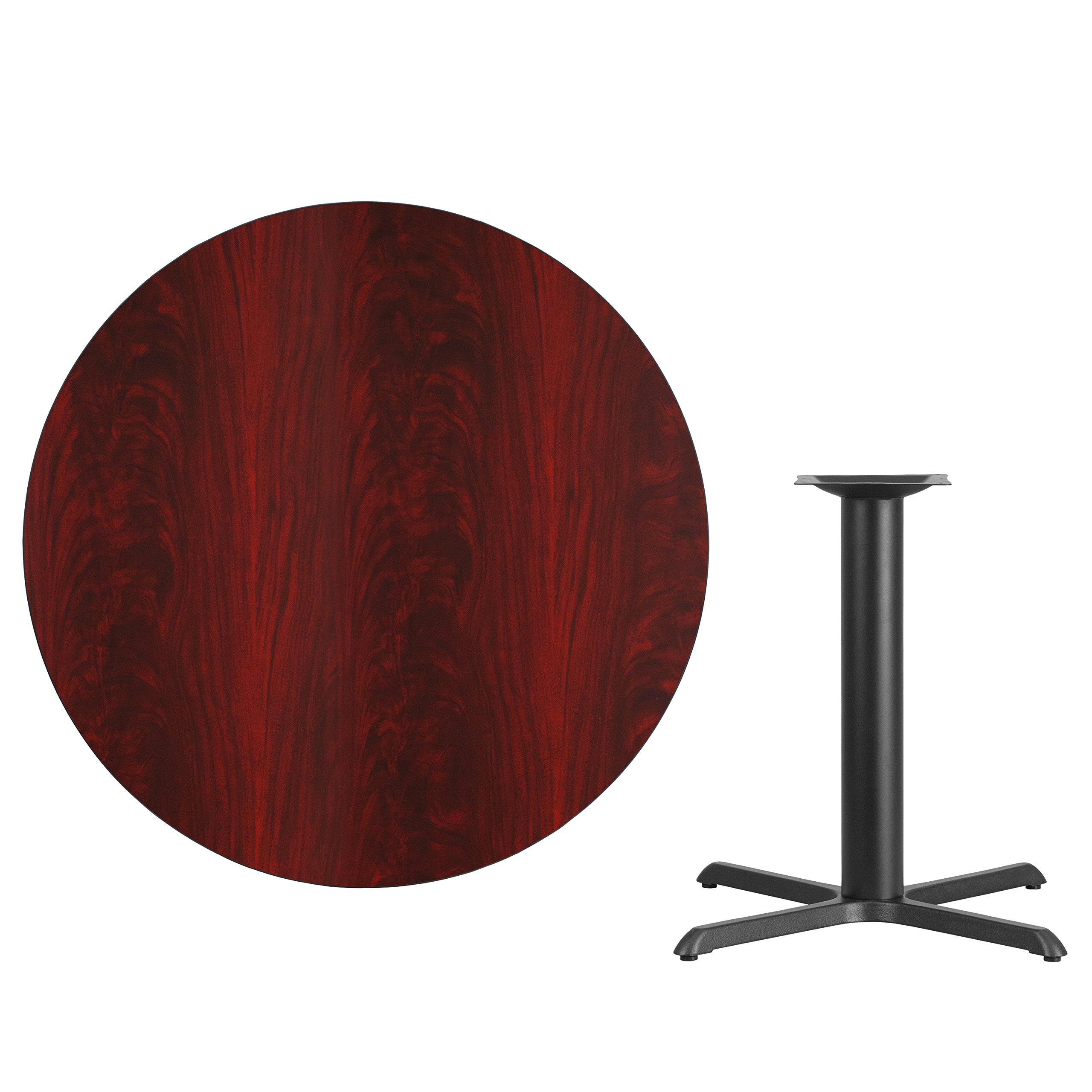 My Friendly Office MFO 42'' Round Mahogany Laminate Table Top with 33'' x 33'' Table Height Base