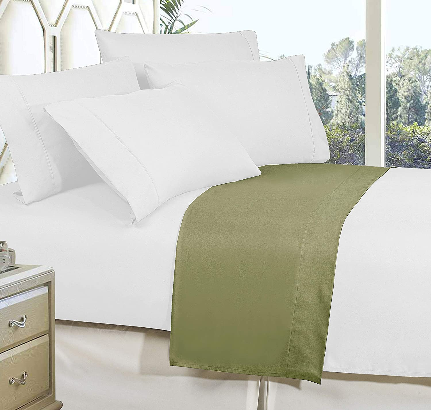 Luxury and Softest 1500 Thread Count Egyptian Quality Bedding Flat Sheet Stain-Resistant 100/% Hypoallergenic Wrinkle-Free King Elegant Comfort Premium Hotel 1-Piece Sage-Green
