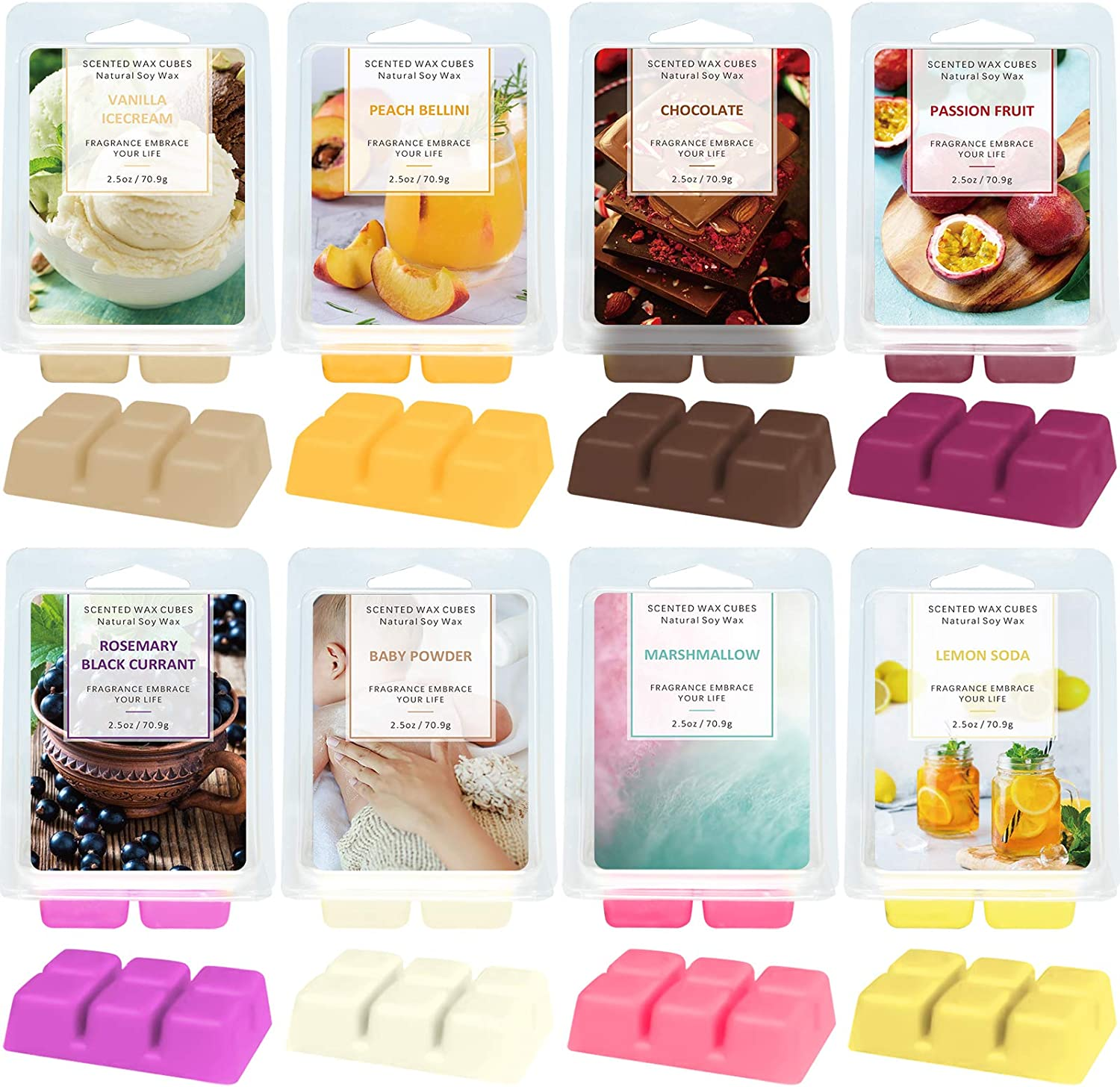LA BELLEFÉE Wax Melts,Wax Cube, Food &Fruit Fragrance Wax Cube, Candle Wax Warmer Melts, Wax Cubes for Home, Scented Natural Soy Wax Cube, 8X 2.5 oz