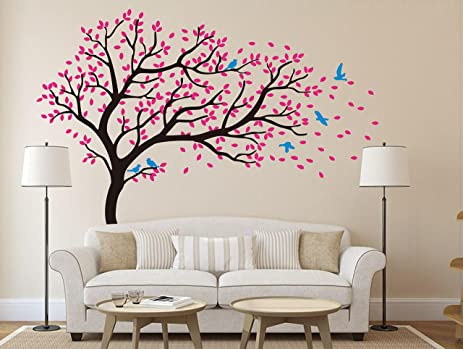 Amazoncom Beautiful Pink Cherry Blossom Tree Wall Decal Flying - Wall stickers for girlspink cherry blossom tree with birds wall stickers girls bedroom