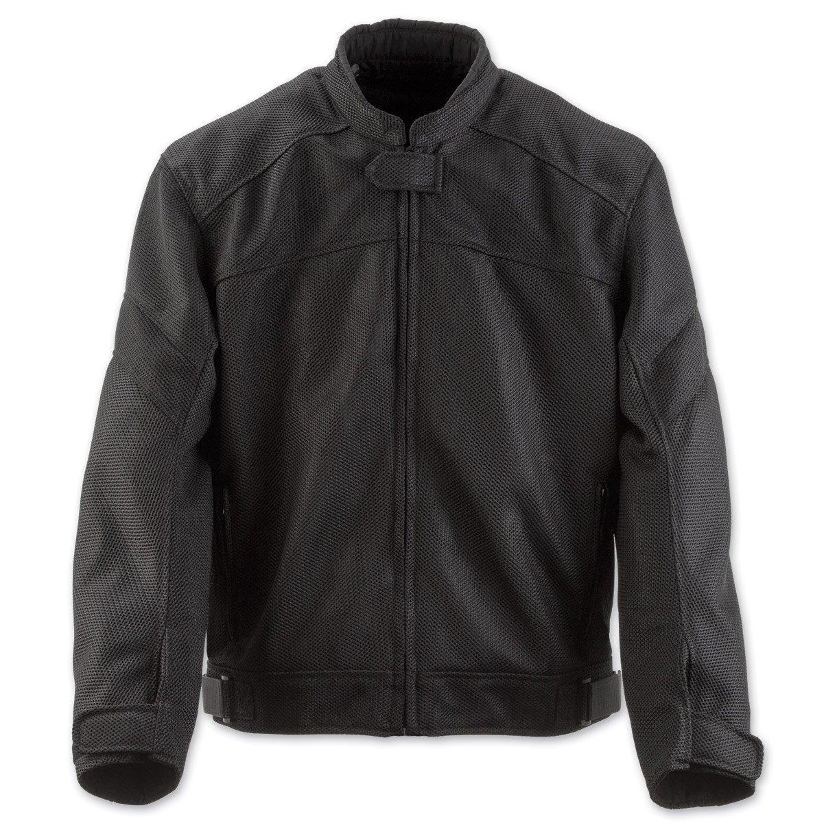 Black Brand Men's Mesh Flow Motorcycle Jacket (Black, Large)