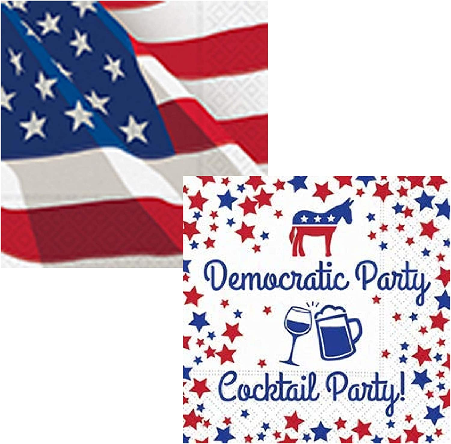 Democratic Party Red White and Blue Cocktail Beverage Napkins - Bundle Includes 40 Total Paper Napkins in 2 Different Patriotic Political Designs