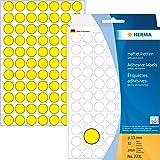 Herma 2231 Haftetiketten farbig, rund (Ø 13 mm, Papier matt) 2.464 Stück Markierungspunkte auf 32 Blatt, gelb, selbstklebend, Handbeschriftung