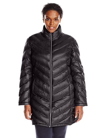 Calvin Klein Womens Plus Size Chevron Quilted Packable Down Coat Plus Black
