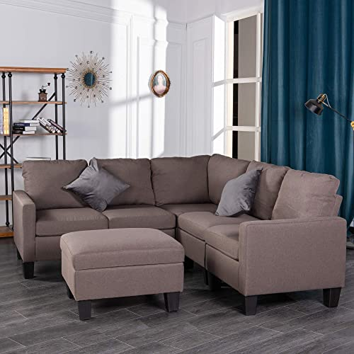 GOOD GRACIOUS Modular Convertible Sectional Sofa Set with Storage Ottoman for Living Room, L-Shaped Sofa Couch with Modern Microfiber Fabric, Brown, 81 x32 x35