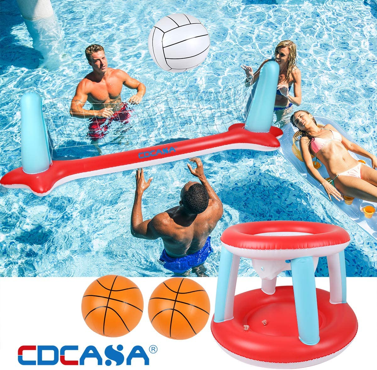 Amazon Com Inflatable Pool Float Set Volleyball Net Basketball Hoops Balls Included For Kids And Adults Swimming Game Toy Floating Summer Floaties Volleyball Court 115 X30 X37 Basketball 29 X22 X29 Toys Games