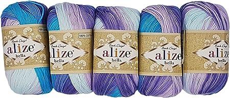 Alize Bella Juego de 5 ovillos de lana de algodón 100% para hacer punto, en