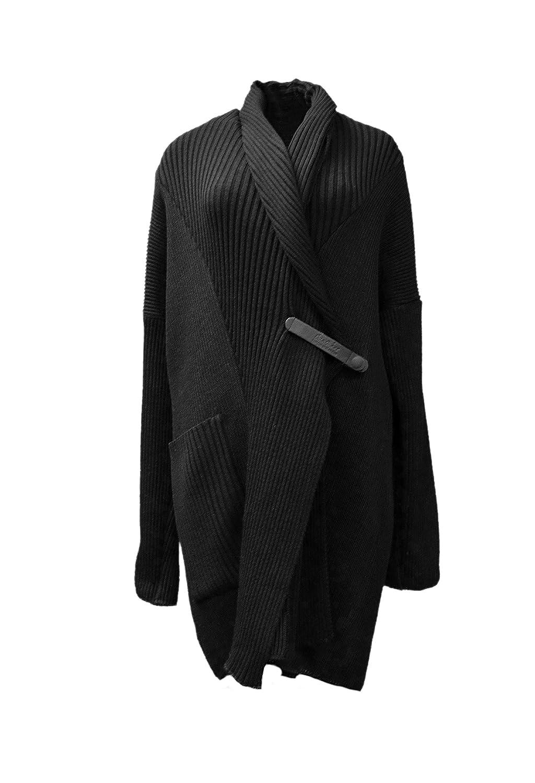 ETNA MAAR Womens Rib Knit One Pocket Sweater Coat Sz L Black 260955E