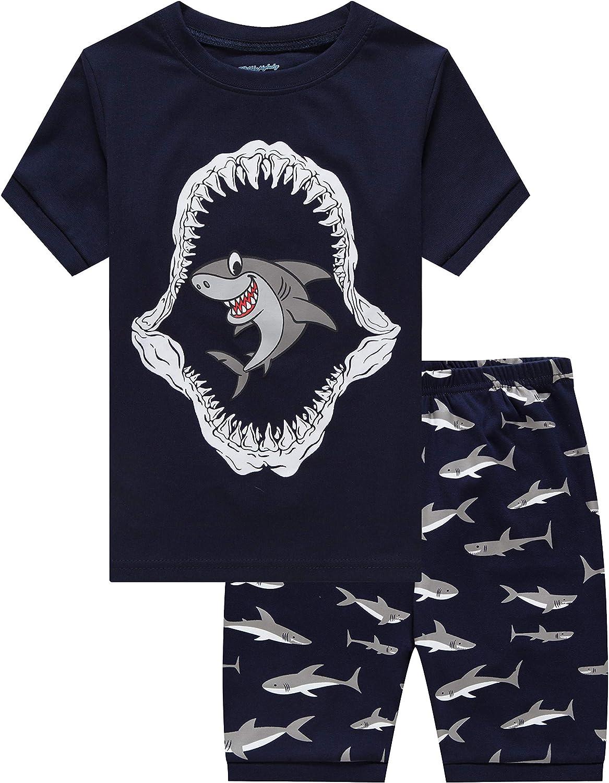 Little Boys Short Set Pajamas for Boys 100% Cotton Toddler Train Dinosaur Sleepwear Summer Clothes Size 2-7T