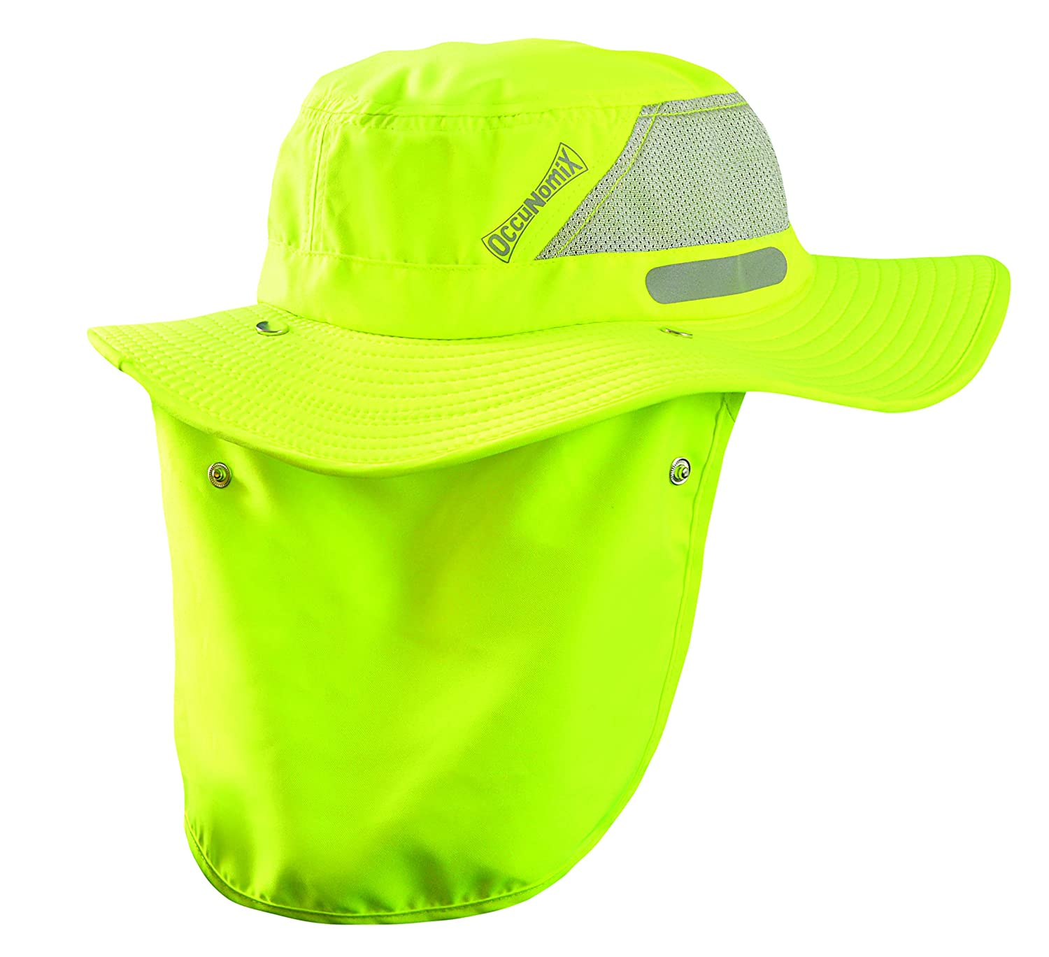 OccuNomix Tuff & Dry Wicking & Cooling Hi Viz Yellow Ranger Hat with Neck Shade - Large - TD500-HVY-L
