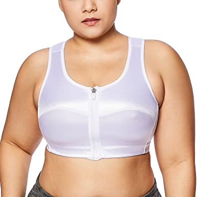 Ladies Women Zip Front Sports Bra Large Medium High Impact Non Wired Size S-XL