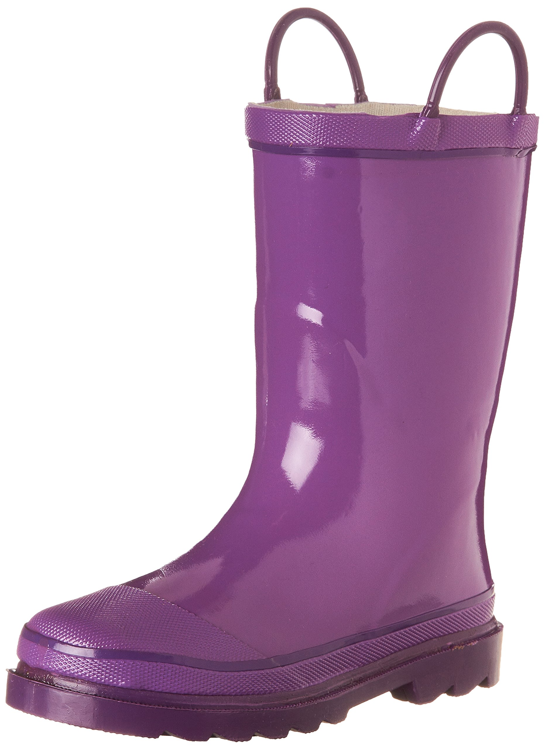Western Chief Kids Waterproof Rubber Classic Rain Boot with Pull Handles, Grape, 6 M US Toddler