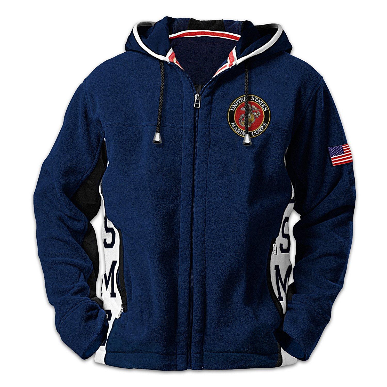 USMC Semper Fi Men's Hoodie - Hooded Fleece Jacket: L by The Bradford Exchange by Bradford Exchange