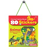 BAZIC Animal Zoo Sticker Assorted Stickers, Toddler Kid Activity Learning Coloring Book, Reward Gift Fun Incentive for Kids Girls Boys (80/Bag), 1-Pack