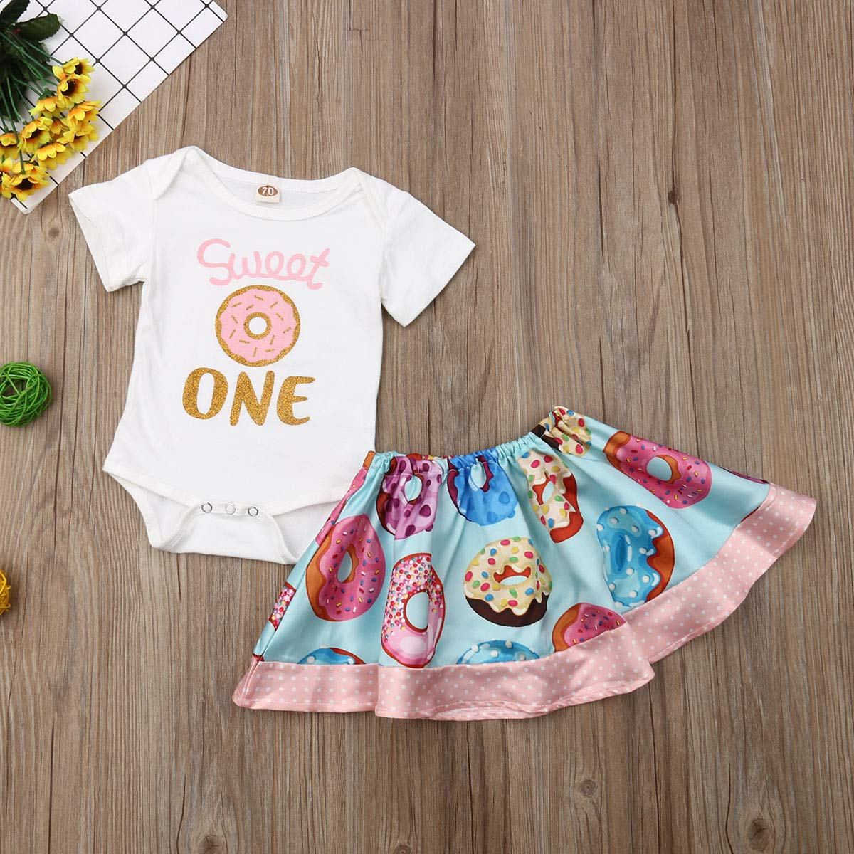 2pcs Baby Girl Clothes Newborn Romper Bodysuit Doughnuts Skirts Outfits Set