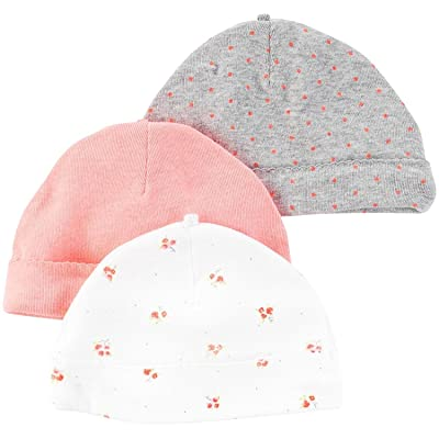 Carter's Baby Girls Caps Pink Floral 3 Pack One Size