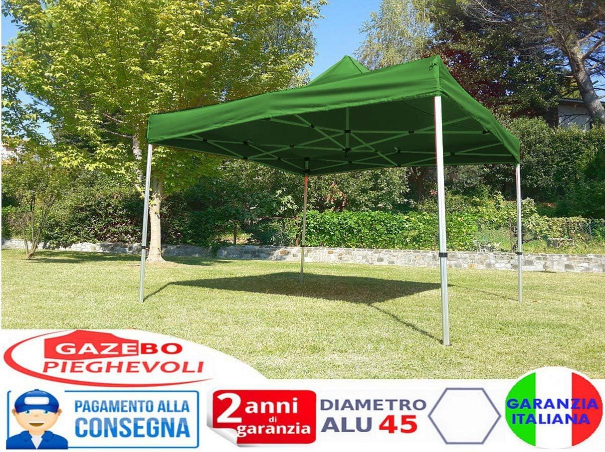 Gazebo Pieghevole 3x3m Alluminio piantone Esagonale Telo Rivestito PVC con Laterali Verde 3x3 chiosco richiudibile Portatile Retrattile Fisarmonica mercati