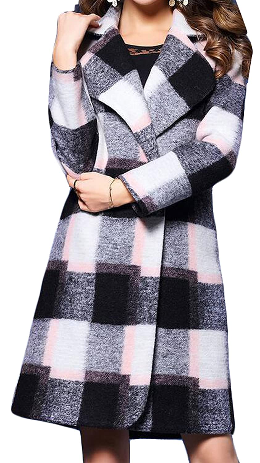 Vska Womens Fashion Classical Loose Plaid Wool Trench Coats
