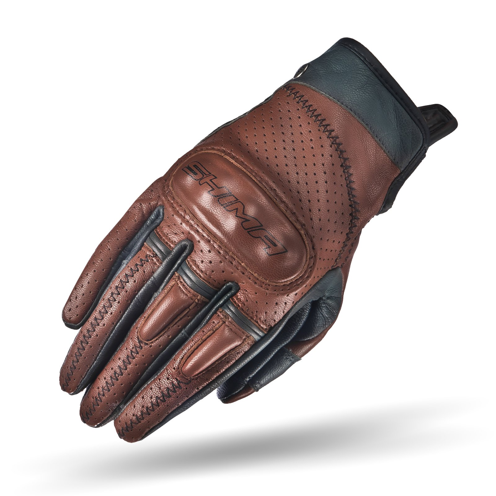 SHIMA CALIBER LADY, Women Retro Vintage Custom Summer Leather Motorcycle Gloves (XS/S/M/L) (L, Brown) by SHIMA (Image #1)