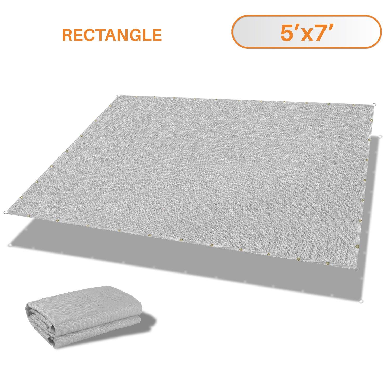 Sunshades Depot 5' x 7' Straight Side Sun Shade Sail 180 GSM Light Grey Patio Rectangle Shade Fabric UV Shelter Pergola Cover for Outdoor Backyard Deck - 3 Year Warranty
