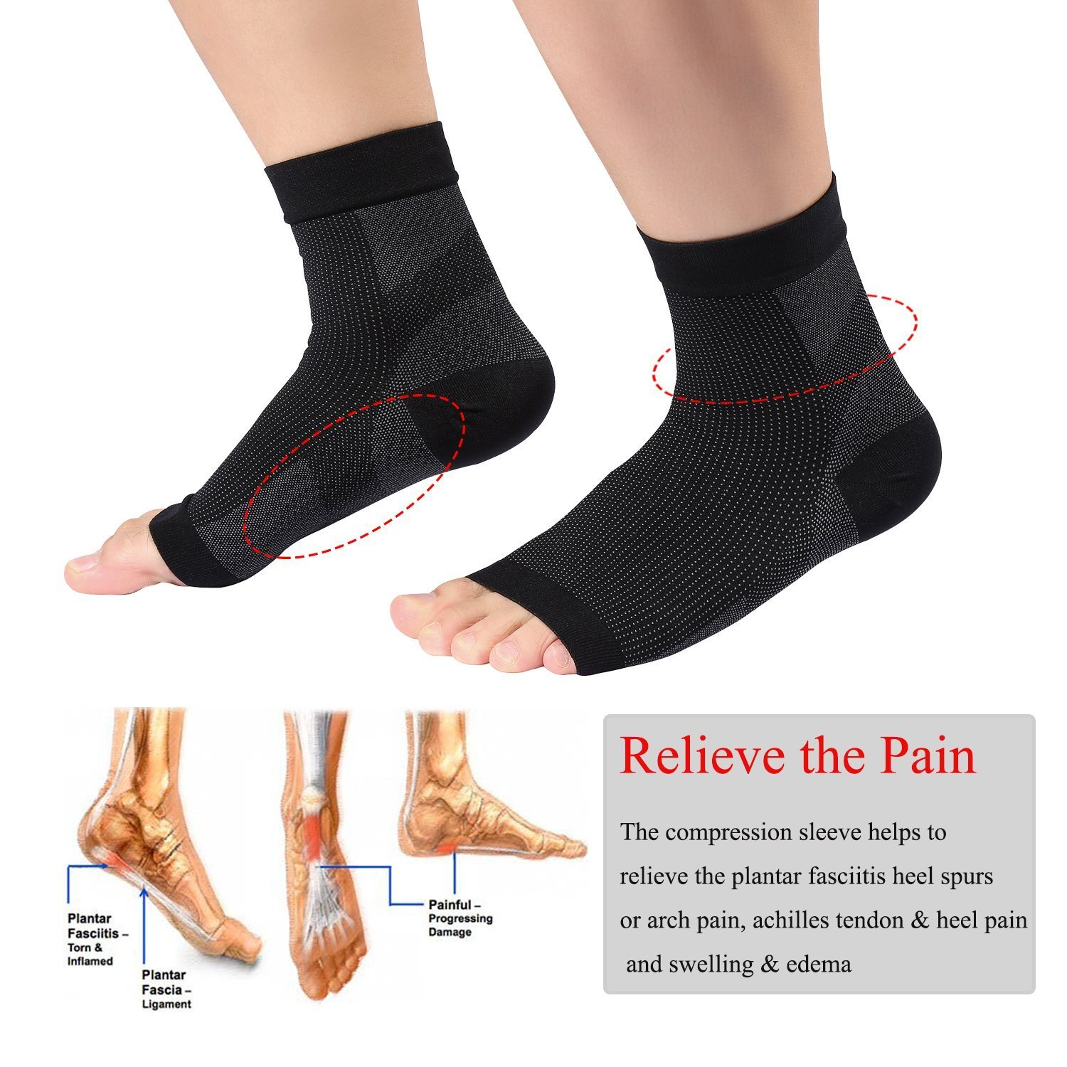 Plantar Fasciitis Compression Socks, Foot Sleeves for Heel Pain, Ankle Pain, Swelling, Flat Feet Supoort, For Men & Women, 2 Pairs Pack size S/M