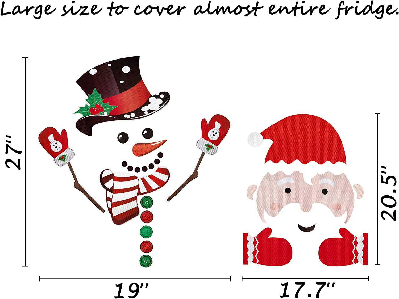 2 Sets Christmas Refrigerator Decorations Reflective Santa Snowman Magnets Xmas Holiday Garage Fridge Kitchen Cute Funny Decor