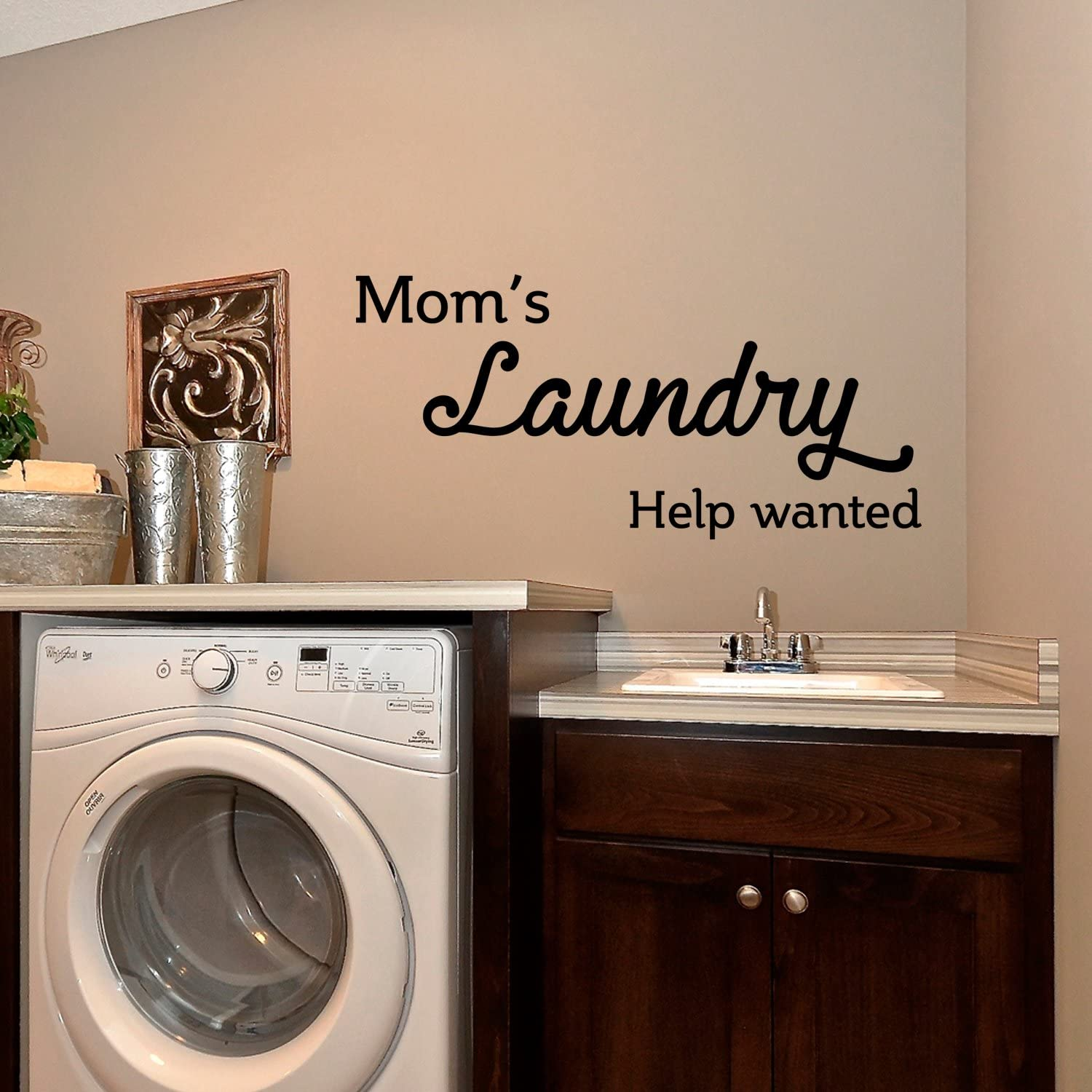 """Vinyl Wall Art Decal - Mom's Laundry Help Wanted - 15"""" x 32"""" - Funny Quotes Laundry Room Decoration - Waterproof Stencil Adhesive Design Stickers - Just for Fun Decorations"""