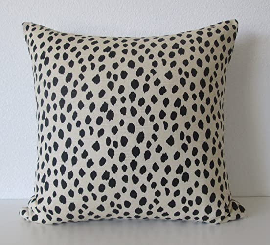 Dodie Beige Black Spot Animal Print Dot Decorative Pillow Cover