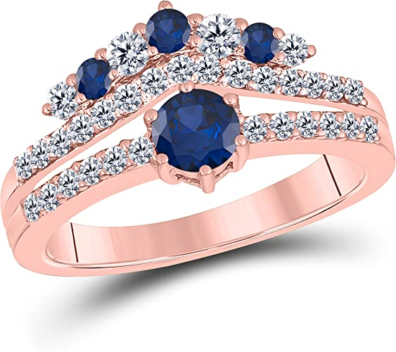 1.50 Ct Round Cut Created Blue Sapphire 14K White Gold Finish Sterling Silver Multistone Crown Style Engagement Ring for Womens