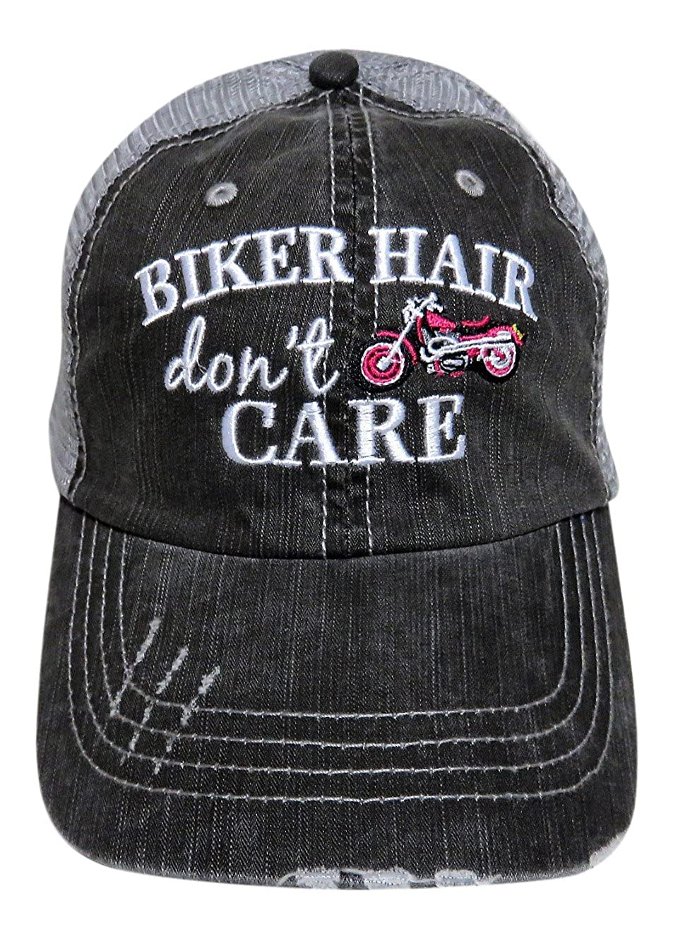 Embroidered Biker Hair Don't Care Grey Trucker Cap Hat