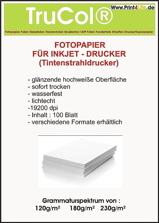 100 hojas de papel fotográfico A4 230g / m² brillante: Amazon.es ...