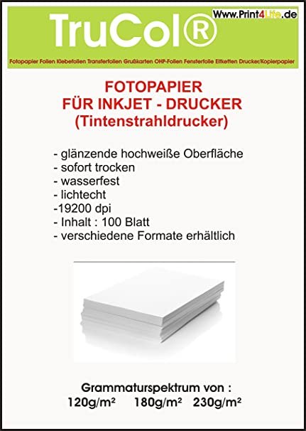100 hojas de papel fotográfico A4 230g / m² brillante