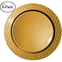 Tiger Chef 2-Pack 13 inch Diamond Plastic Charger Plates Disposable Set of 2, 4, 6, 12 or 24 for Parties, Wedding, and Special Events