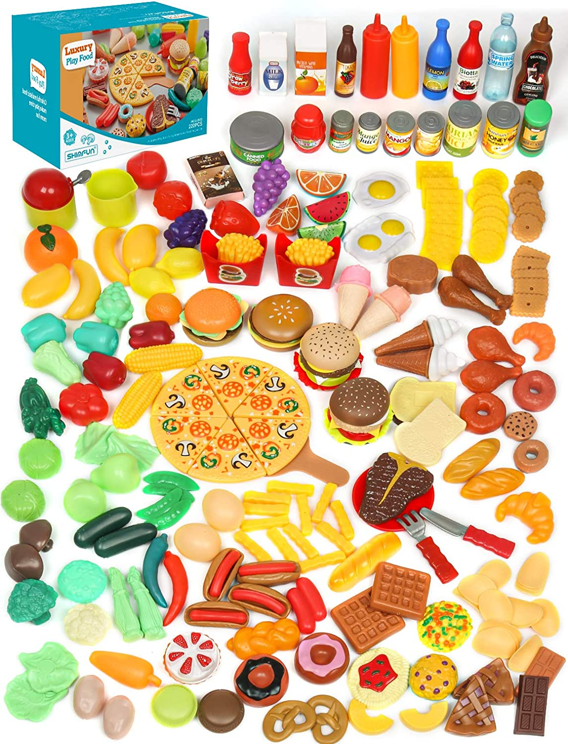 Shimfun Play Food, 220Pc Play Food Sets for Kids Kitchen - Toy Food Assortment, Fake Food for Early Learning & Pretend Play, Toy Kitchen Playset & Play Kitchen Accessories for Toddlers Cooking Fun