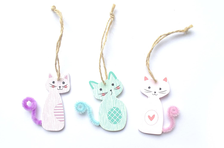 Kätzchen - süße kleine Katzen - 3 Stück - Holzdekoration (Größe 6 cm) - ideal zum Dekorieren.