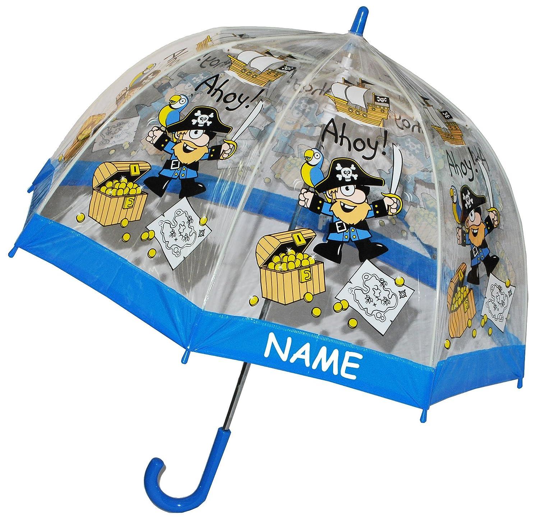 transparent /Ø 70 cm Kinder Stockschirm Unbekannt Regenschirm Pirat // Schatztruhe Namen f/ür Jungen Schirm Kinderregenschirm // Glockenschirm Pi.. Kinderschirm incl