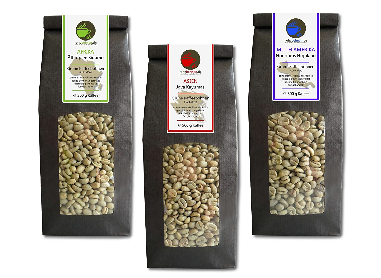 Rohkaffee Sparpack Äthiopien, Java und Bio Honduras