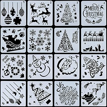 Amazon Com 16 Pieces Christmas Stencils Template Reusable Plastic Craft For Art Drawing Painting Spraying Window Glass Door Car Body