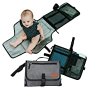 Portable Changing Pad by Trblmkr - Portable Diaper Changing Pad. Portable, BPA Free, Stain Resistant, Waterproof and Wipeable Diaper Changing Pad. Travel Changing Pad and Baby Shower Gift.