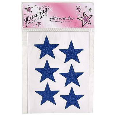 6 Large Pre-Glittered Stars Navy