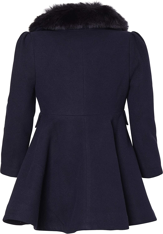 CREMSON Girls/' Wool Look Princess Winter Dress Pea Coat Jacket Faux Fur Collar
