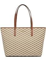 Michael Kors Emry Natural Luggage Coated Canavas Top Zip Tote Bag