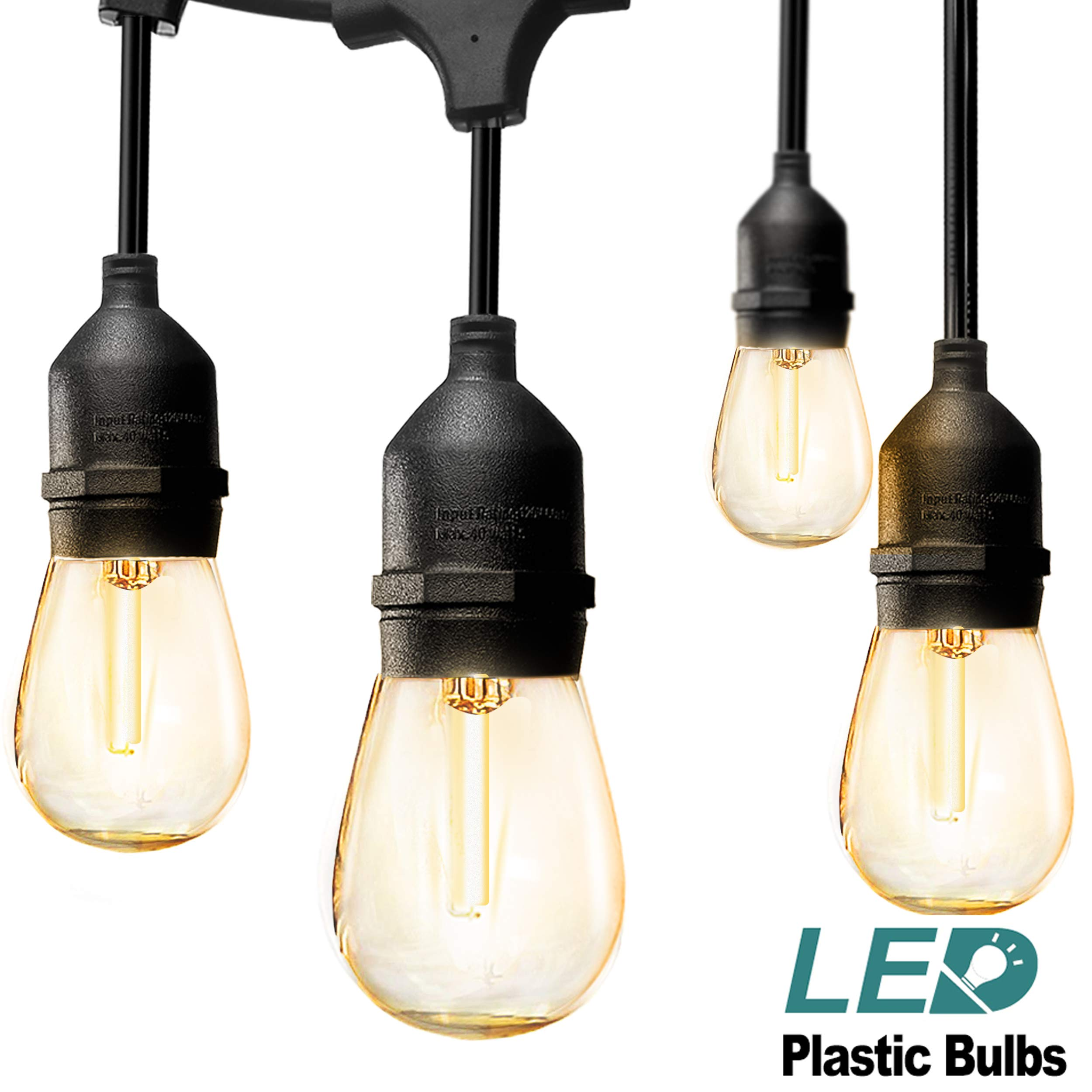 addlon LED Outdoor String Lights 48FT : with Dimmable Edison Vintage Plastic Bulbs and Commercial Great Weatherproof Strand - UL Listed Heavy-Duty Decorative LED Café Patio Light, Porch Market Lights